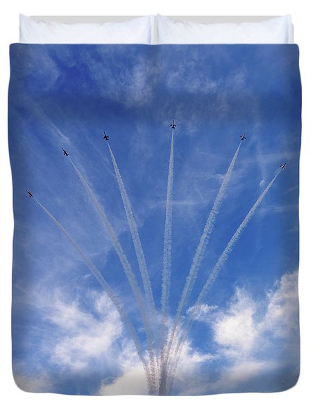 Duvet Cover featuring the photograph Jet Planes Formation In Sky by Pradeep Raja Prints