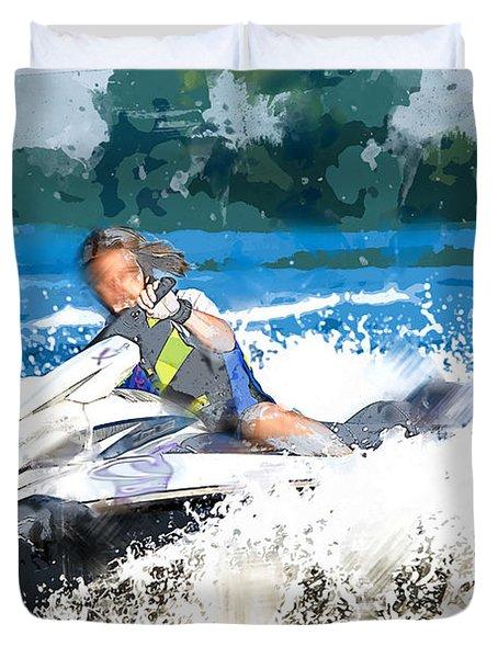 Jet Skiing In The Lake Duvet Cover