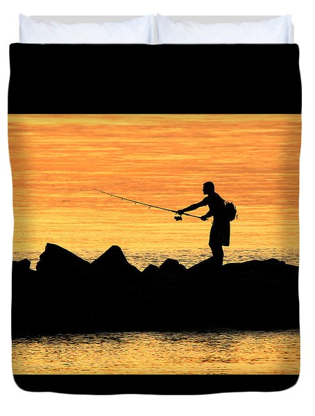 Jetty Fisherman Mt Sinai New York Duvet Cover