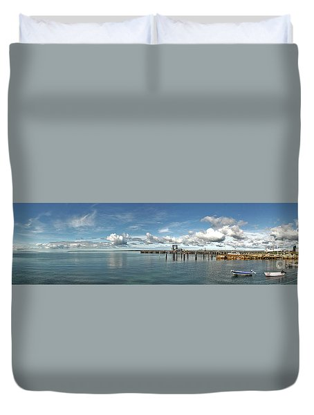 Duvet Cover featuring the photograph Jetty To Shore by Stephen Mitchell