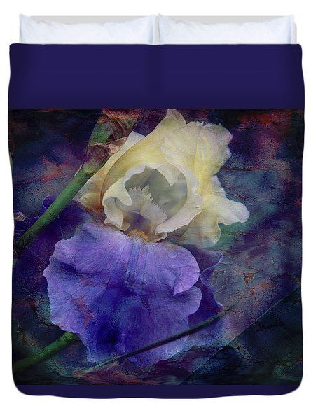 Duvet Cover featuring the photograph Jeweled Iris by Toni Hopper