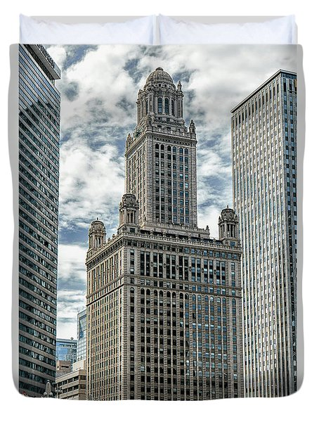 Duvet Cover featuring the photograph Jewelers Building Chicago by Alan Toepfer