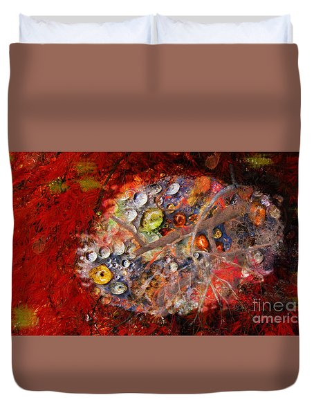 Jewels And The Japanese Maple Duvet Cover