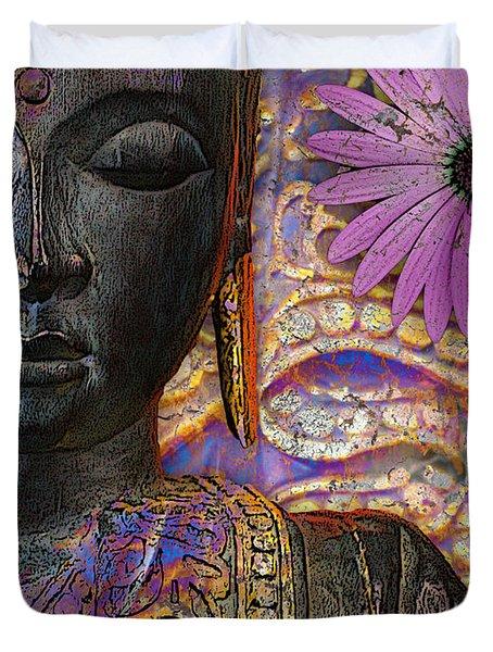 Jewels Of Wisdom - Buddha Floral Artwork Duvet Cover