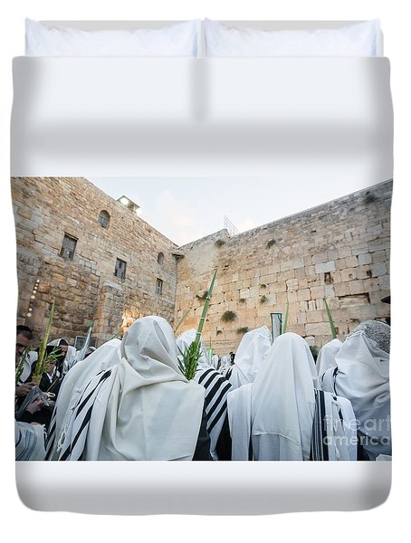 Jewish Sunrise Prayers At The Western Wall, Israel 10 Duvet Cover
