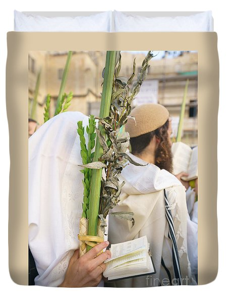 Jewish Sunrise Prayers At The Western Wall, Israel 11 Duvet Cover