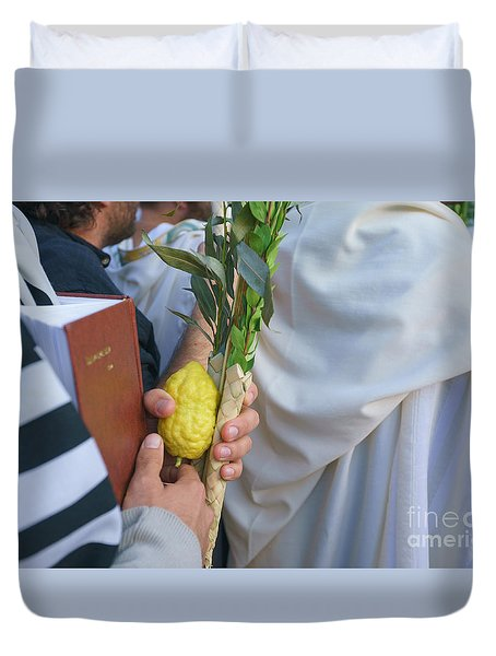 Jewish Sunrise Prayers At The Western Wall, Israel 12 Duvet Cover