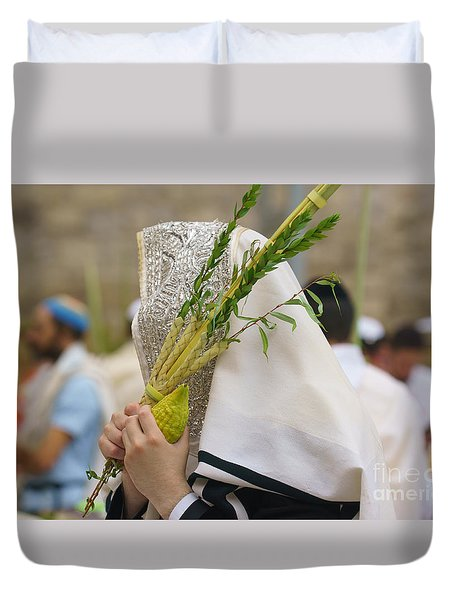 Jewish Sunrise Prayers At The Western Wall, Israel 5 Duvet Cover