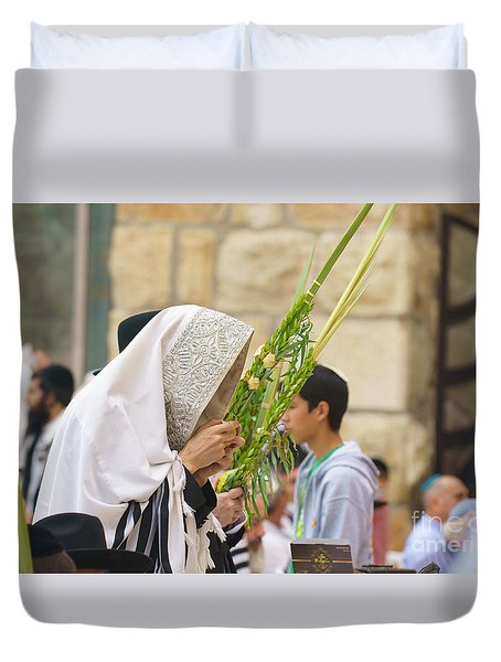 Jewish Sunrise Prayers At The Western Wall, Israel 6 Duvet Cover