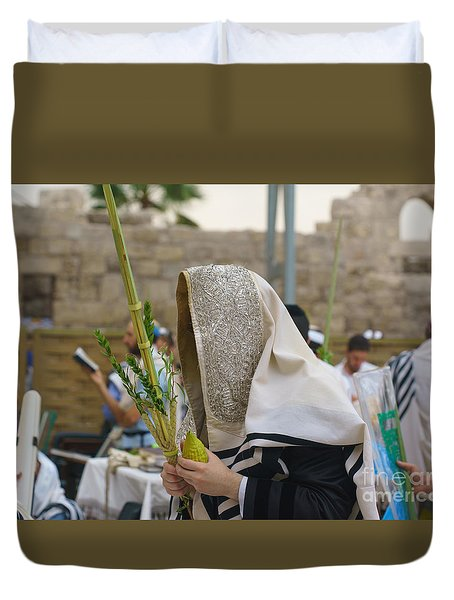 Jewish Sunrise Prayers At The Western Wall, Israel 7 Duvet Cover