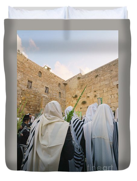 Jewish Sunrise Prayers At The Western Wall, Israel 9 Duvet Cover
