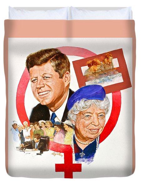 Jfk And Elenore Roosevelt  Duvet Cover