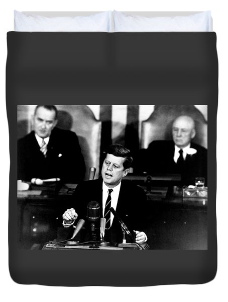Jfk Announces Moon Landing Mission Duvet Cover by War Is Hell Store