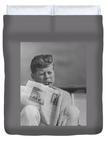 Jfk Relaxing Outside Duvet Cover by War Is Hell Store