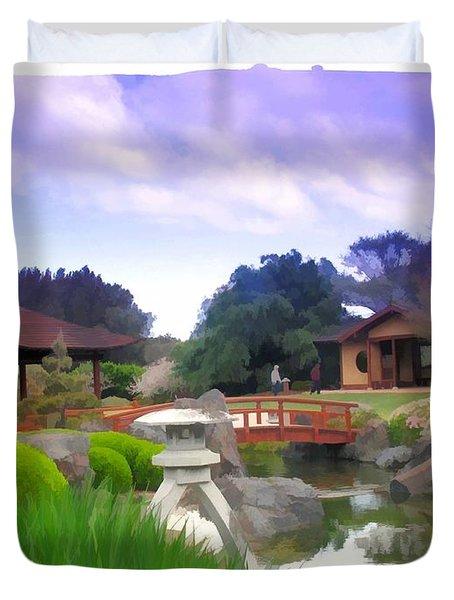Duvet Cover featuring the photograph Jg-0021 Kotaji Lantern by Digital Oil