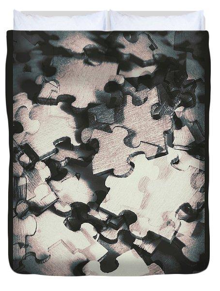 Jigsaws Of Double Exposure Duvet Cover