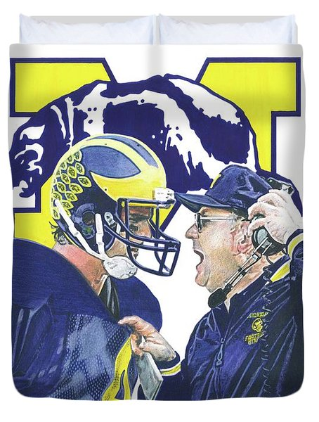 Jim Harbaugh And Bo Schembechler Duvet Cover by Chris Brown
