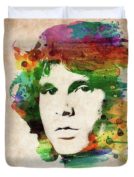 Jim Morrison Colorful Portrait Duvet Cover