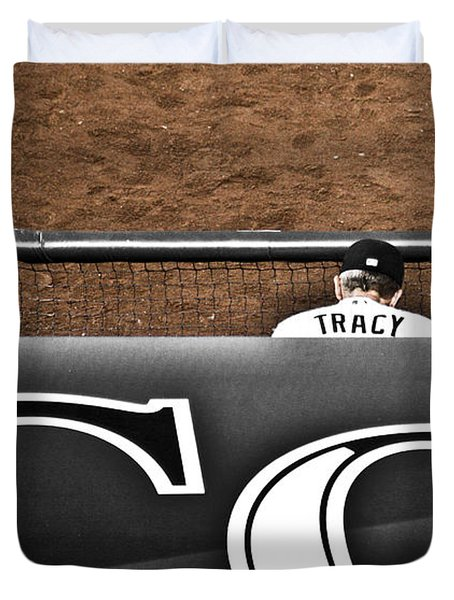 Jim Tracy Rockies Manager Duvet Cover by Marilyn Hunt