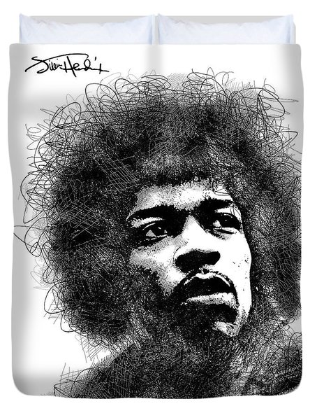 Jimi Hendrix Bw Scribbles Portrait Duvet Cover