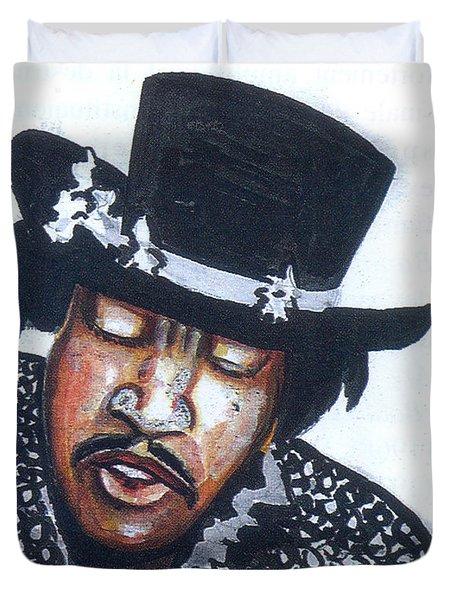Duvet Cover featuring the painting Jimi Hendrix by Emmanuel Baliyanga
