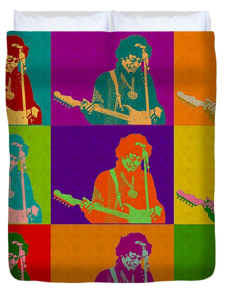 Jimi Hendrix In The Style Of Andy Warhol Duvet Cover