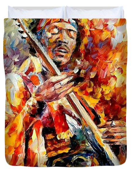 Jimi Hendrix  Duvet Cover by Leonid Afremov