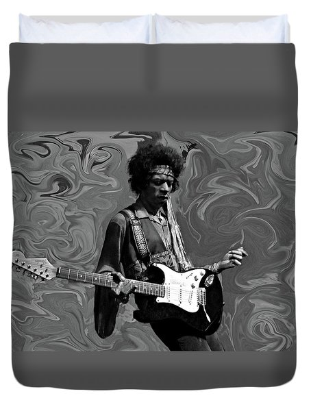 Duvet Cover featuring the photograph Jimi Hendrix Purple Haze B W by David Dehner