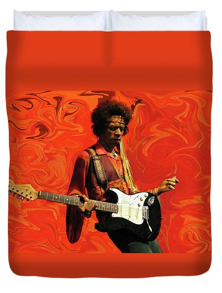 Duvet Cover featuring the photograph Jimi Hendrix Purple Haze Orange by David Dehner