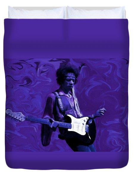 Duvet Cover featuring the painting Jimi Hendrix Purple Haze P D P by David Dehner
