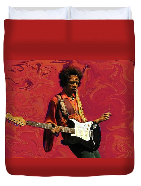 Duvet Cover featuring the photograph Jimi Hendrix Purple Haze Red by David Dehner