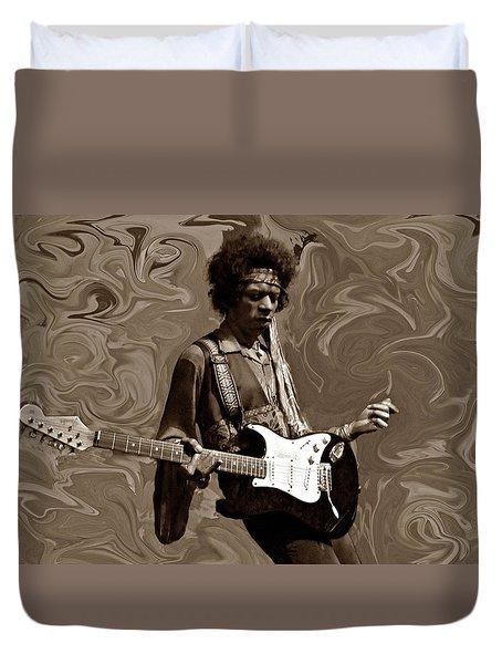 Duvet Cover featuring the photograph Jimi Hendrix Purple Haze Sepia by David Dehner