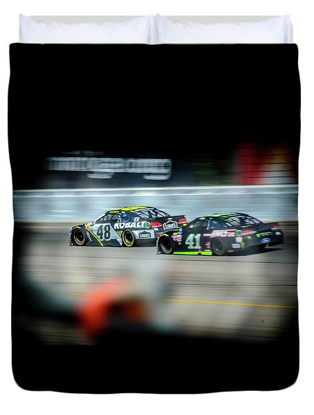 Jimmie Johnson Charging Ahead At Mis Duvet Cover