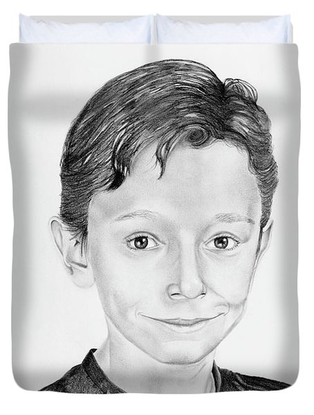 Duvet Cover featuring the drawing Jimmy by Mayhem Mediums