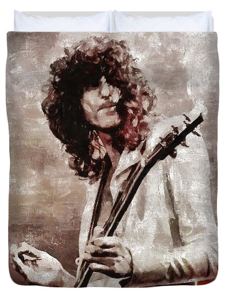 Jimmy Page By Mary Bassett Duvet Cover