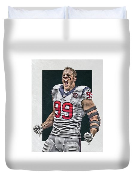 Jj Watt Houston Texans Art 1 Duvet Cover