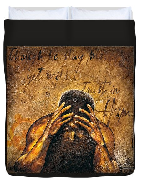 Duvet Cover featuring the painting Job by Christopher Marion Thomas