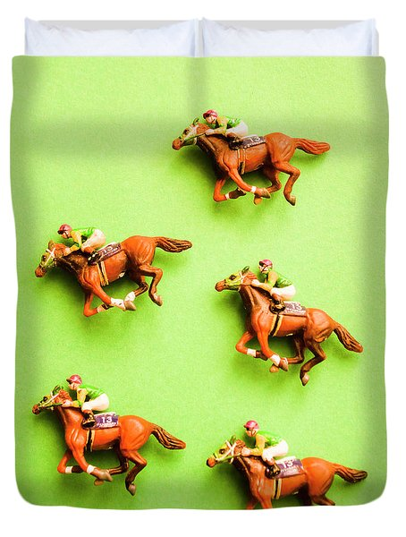 Jockeys And Horses Duvet Cover