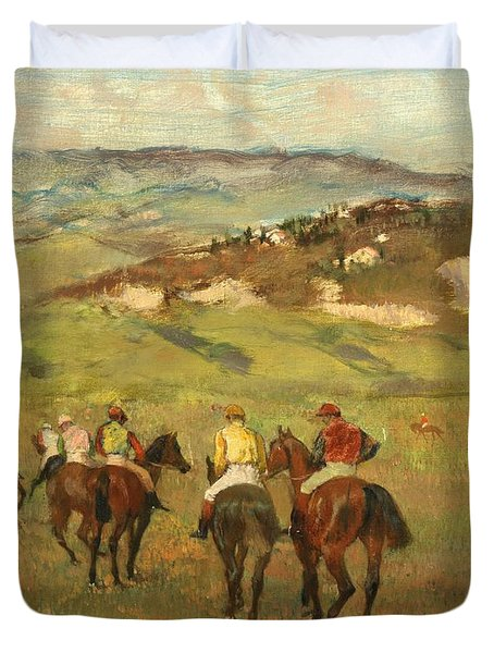Jockeys On Horseback Before Distant Hills Duvet Cover