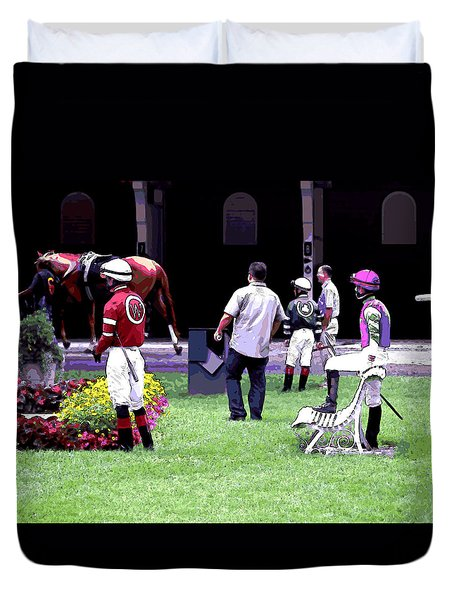 Duvet Cover featuring the digital art Jockeys Painting by  Newwwman