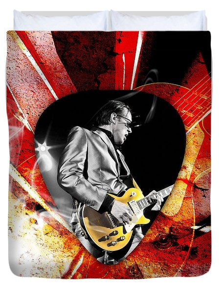 Joe Bonamassa Blue Guitar Art Duvet Cover by Marvin Blaine