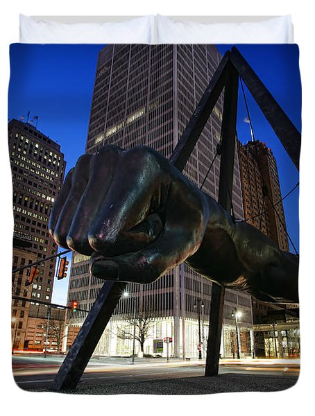 Joe Louis Fist Statue Jefferson And Woodward Ave. Detroit Michigan Duvet Cover
