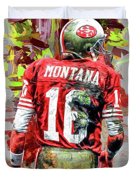 Joe Montana Football Digital Fantasy Painting San Francisco 49ers Duvet Cover by David Haskett