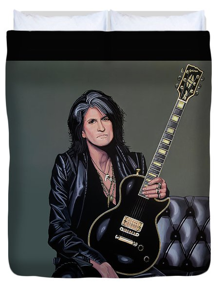Joe Perry Of Aerosmith Painting Duvet Cover by Paul Meijering