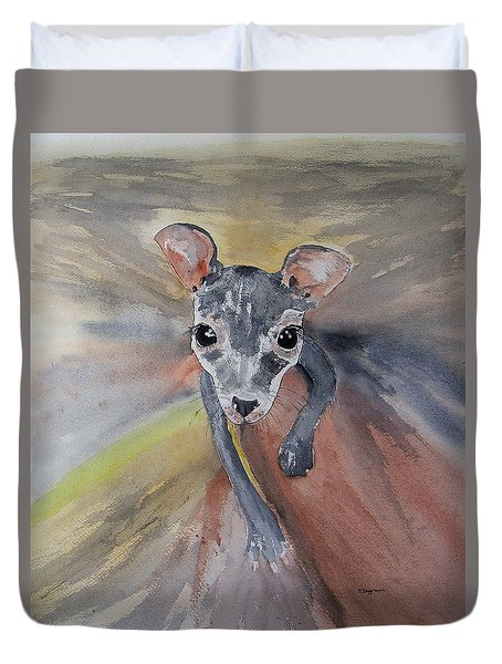Joey In Mums Pouch Duvet Cover