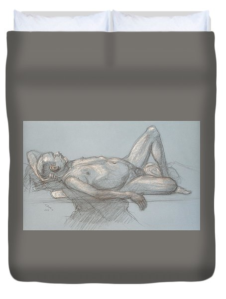 Duvet Cover featuring the drawing Joey Reclining #1 by Donelli  DiMaria