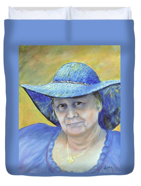 Duvet Cover featuring the painting Johanna by Luczay