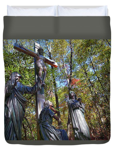 Duvet Cover featuring the photograph John 3 16 by Mitch Cat