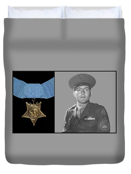 John Basilone And The Medal Of Honor Duvet Cover by War Is Hell Store