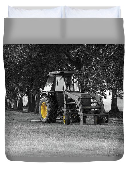 Duvet Cover featuring the photograph John Deere 620 In Selective Color by Doug Camara